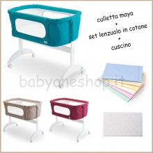 CULLETTA CO-SLEEPING MAYA PALI + SET LENZUOLA IN COTONE + CUSCINO ANTISOFFOCO