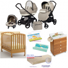 TRIO BOOK PEG PEREGO + LETTINO MIBB POP + FASCIATOIO CASSETTIERA ASIA CAM + MATERASSO UP